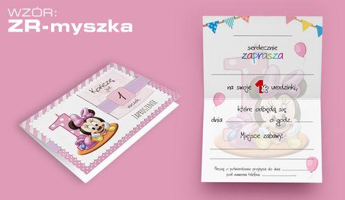 Zaproszenia na PIERWSZE URODZINY roczek dziecka +koperta (ZR-myszka) na Arena.pl