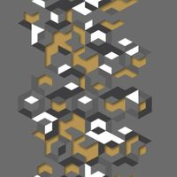 Tapeta Geometria Szaro Czarno Musztardowa Efekt 3D L57702 Ugepa