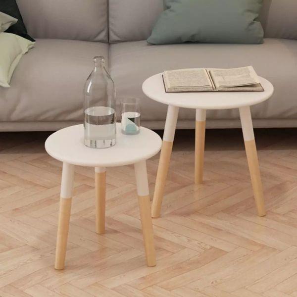 Stolik Konsola Do Salonu Drewniany 2szt Białe