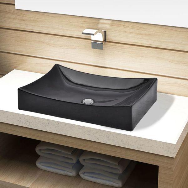 Umywalka Ceramiczna Prostokątna Czarna zdjęcie 1