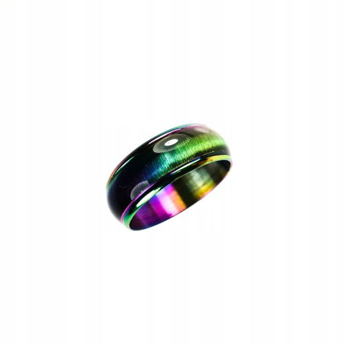 Tęczowa obrączka sygnet pierścień pawie oko 316l na Arena.pl