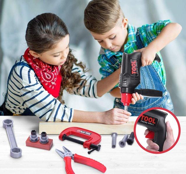 Skrzynka z narzędziami Dla Dzieci Wiertarka Warsztat Walizka Y160 zdjęcie 8