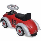 Czerwony samochód-jeździk retro z drążkiem do pchania zdjęcie 5