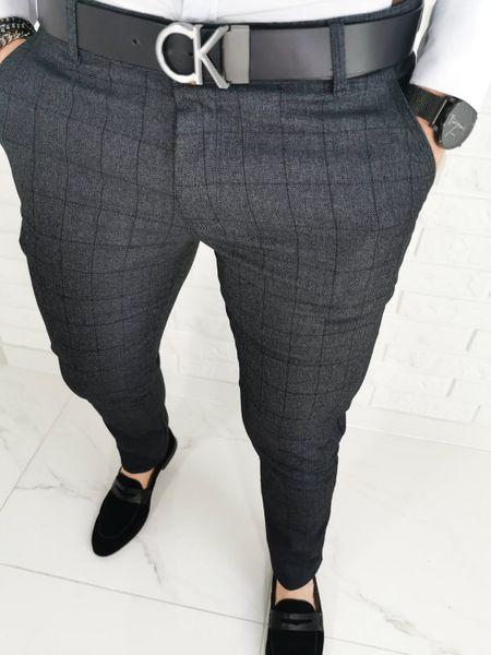 Ciemnoszare wizytowe męskie spodnie slim fit w delikatna czarna krate Diego-1 - 30 na Arena.pl