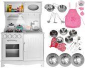 Kuchnia Drewniana Dla Dzieci Kuchenka Metalowe Garnki Światła Akcesoria Z371K zdjęcie 13