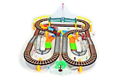 Kolejka elektryczna + tor samochodowy 192 elementy 700cm długość Z240 na Arena.pl