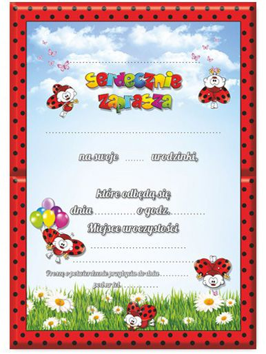 Zaproszenia Na Urodziny Wzór Biedronka Arenapl
