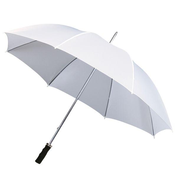 Bardzo duża parasolka ślubna XL w kolorze białym z czarną rączką zdjęcie 1