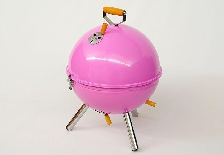 Grill ogrodowy węglowy okrągły, mini grill bbq kolor różowy zdjęcie 2
