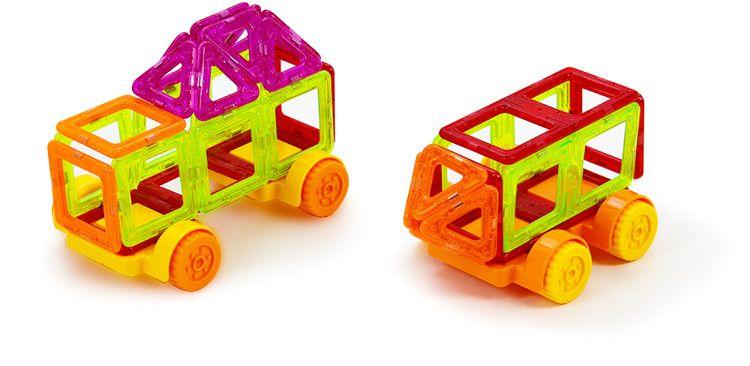 Klocki magnetyczne: 158 elementów: Budowle i pojazdy zdjęcie 5