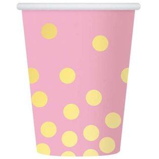 """Kubeczki papierowe """"Złote groszki"""", różowe, 270 ml, 6 szt"""