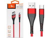 Kabel USB Typ-C z oplotem Spider (2 m, czerwony)
