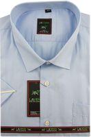 Duża Koszula Męska Laviino gładka błękitna duże rozmiary na krótki rękaw K706 6XL 50 182/188