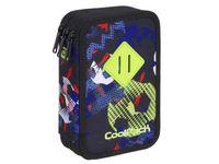 Potrójny piórnik szkolny Coolpack Jumper 3 z wyposażeniem, FOOTBALL A436