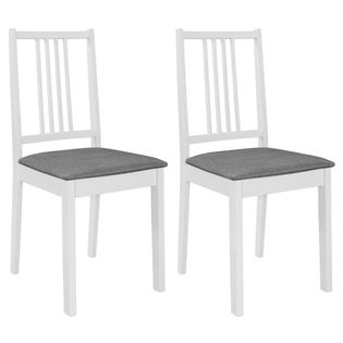 Lumarko Krzesła z poduszkami, 2 szt., białe, lite drewno;