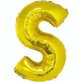 Balon foliowy LITERA S złoty alfabet napis 85 cm