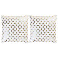 Poduszki, 2 szt., z nadrukiem, biel i złoto, 40x40 cm, bawełna