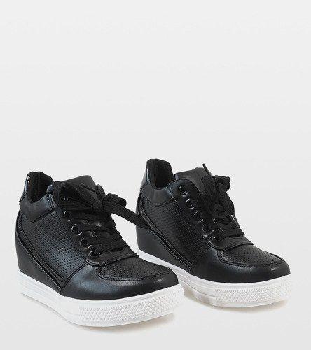 Czarne sneakersy ze złotym suwakiem MY560 38