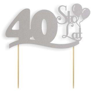 """Dekoracja na tort papierowa """"Urodziny 40"""", srebrna,  17 cm"""