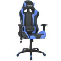 Fotel dla gracza rozkładany ekoskóra niebieski VidaXL