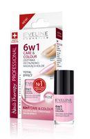 Eveline Nail Therapy Lakier odżywka 6w1 Care & Colour Rose  5ml