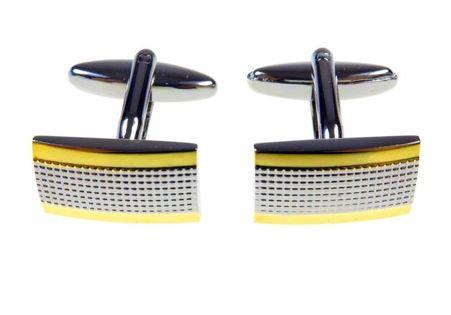 Srebrne spinki - kratka ze złotymi paskami A73