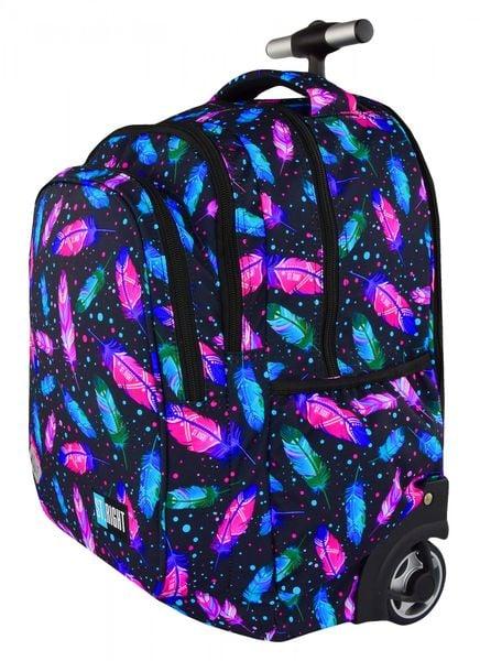 a94ce410f1271 Plecak szkolny młodzieżowy na kółkach ST.RIGHT czarny w kolorowe piórka,  FEATHERS TB1 (