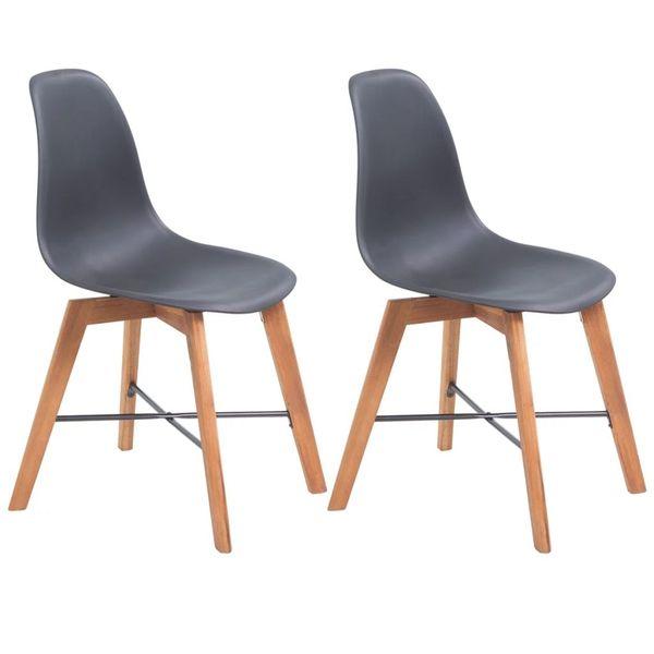 Krzesła Stołowe, 2 Szt., Czarne, Plastikowe zdjęcie 1