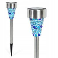 Lampa solarna LED ogrodowa wbijana Lampion Mozaika Niebieska