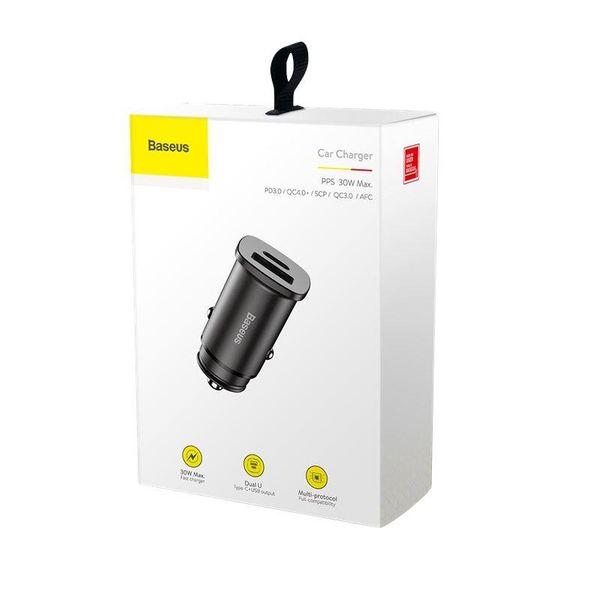 Baseus Square - Ładowarka samochodowa USB-A QC 4.0 + USB-C PD 3.0 30 W (czarny) zdjęcie 6