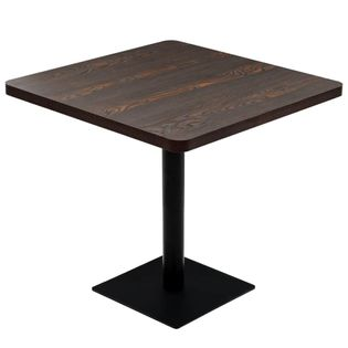 Stolik barowy z MDF na stalowej podstawie, 80x80x75 cm, jesion