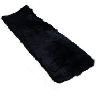 Dywan sztuczna skóra do salonu ekoskóra dywanik do sypialni czarny 60x180cm UC19102121B