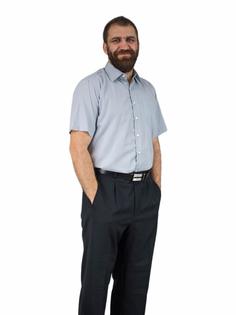 51/52 - 7XL Popielata koszula męska krótki rękaw duże rozmiary elegancka