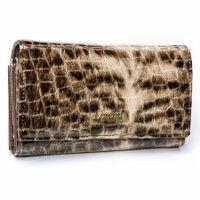 Elegancki, klasyczny portfel damski na zatrzask ze skóry naturalnej Lorenti