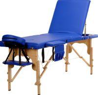 Stół, łóżko do masażu 3-segmentowe drewniane Niebieski