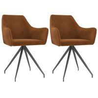 Krzesła stołowe, 2 szt., brązowe, obite aksamitem