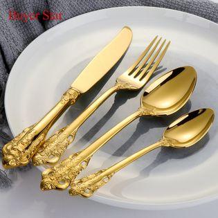 LUKSUSOWE Sztućce - GRAWEROWANE - Zestaw Obiadowy 24 Szt - Złote
