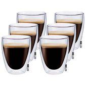 Zestaw Szklanek Termicznych Podwójna Ścianka Kawa Herbata 235ml 6sztuk
