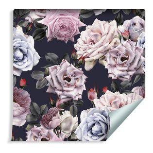 Tapeta Ozdobna Piękne Kolorowe Róże w Stylu Vintage Retro