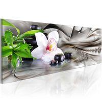 Obraz - Kompozycja Zen: bambus, orchidea i kamienie