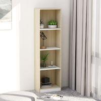 4-poziomowy regał na książki, biel i dąb sonoma, 40x24x142 cm