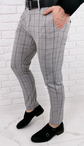 Jasnoszare wizytowe spodnie męskie slim fit w czarna krate Stylovy 1258s - 30 na Arena.pl