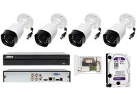 Monitoring Dahua na 4 kamery tubowe z klasą szczelności IP67