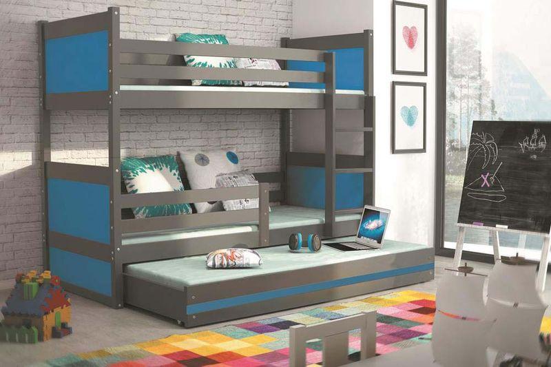 Łóżko meble dla dzieci drewniane Mateusz 190x80 piętrowe 3osobowe zdjęcie 8
