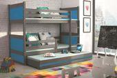 Łóżko meble dla dzieci drewniane Mateusz 190x80 piętrowe 3osobowe