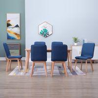 Krzesła do jadalni 6 szt. niebieskie tkanina i lity dąb VidaXL