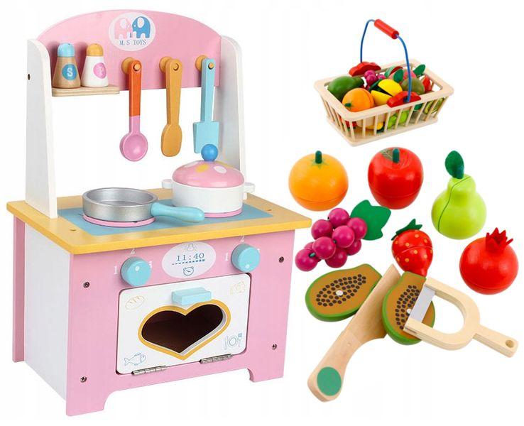 Kuchnia Drewniana Dla Dzieci Garnki Akcesoria Owoce Magnetyczne U46U zdjęcie 11