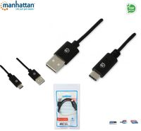 Kabel USB Manhattan USB 2.0 MIC-C/A M/M 1m, czarny ICOC MUSB20-CMAM10