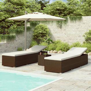 3-częściowy zestaw leżaki ze stolikiem polirattan brązowe