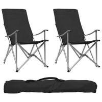 Lumarko Składane krzesła turystyczne, 2 szt., czarne
